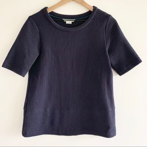 Boden | Navy Ribbed Knit Top